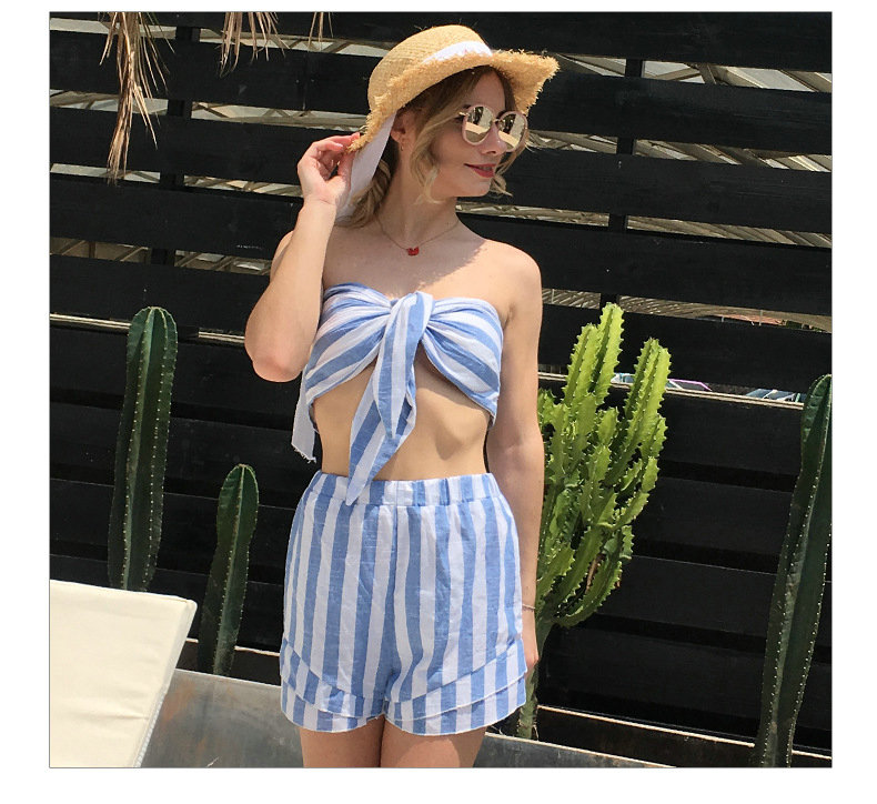 Summer 2018 Women Two Piece Set Female Sexy Strapless T-shirt Top + Striped Shorts Pants Ladies Beach Suits LW-7971