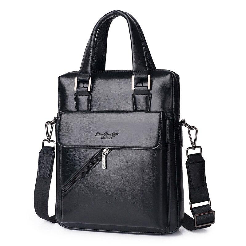 Genuine Leather Men s Briefcase Tote Messenger Shoulder Bag Travel Laptop bags for men Document Business