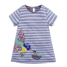A-Line Dress For Girls Horizontal Stripes Fashion Design Cotton Fabric O-Collar  Vivi