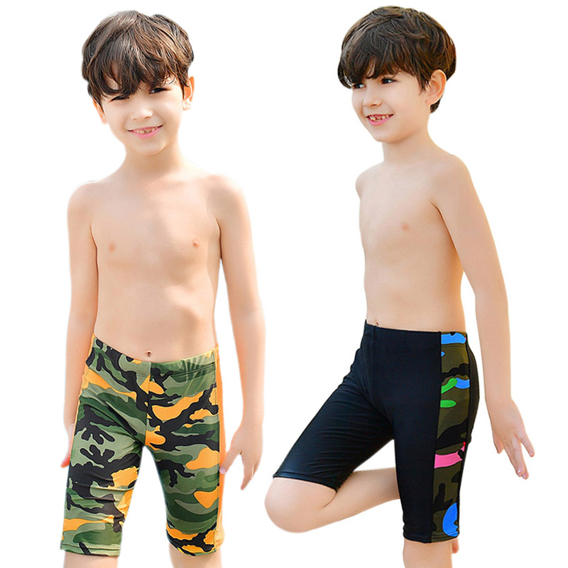 Boy Swimming Trunks 6-15 Years Kids Swimwear Shorts Summer Beach Bathing Surfing Swim Trunk Elasticity Waist Swimwear Boys