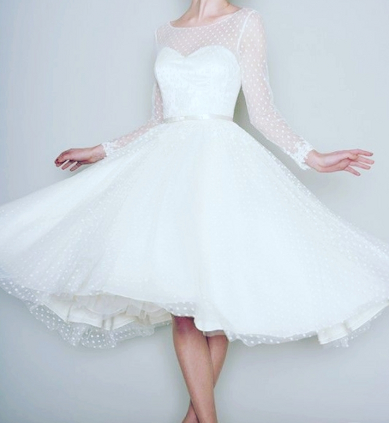 Vintage Wedding Dresses Amsterdam: Vintage Long Sleeve Retro Dotted Wedding Dress Summer