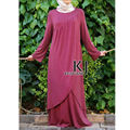 Новый халат исламская Нерегулярные хем djellaba Вискоза + эластичность длинным рукавом мусульманские женщины одеваются и индийское сари 4 Цветов KJ-WAB30043