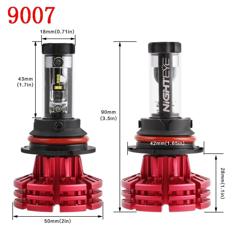 New 9007 Auto Car LED Headlight Kit Hi/Low Beam Led Light Bulbs 60W/set 10000LM 6500K White 3000K 8000K Free Shipping Car goods