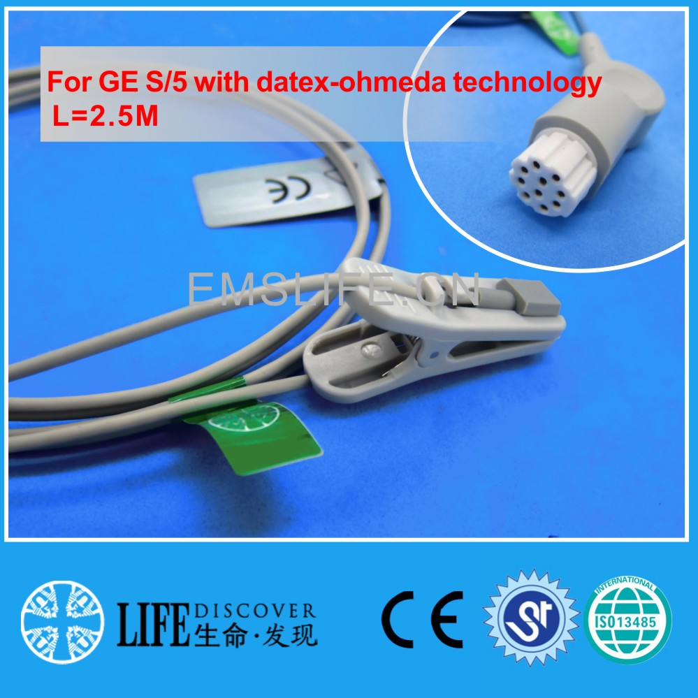Long cable adult ear clip spo2 sensor For GE S/5 with datex-ohmeda technology