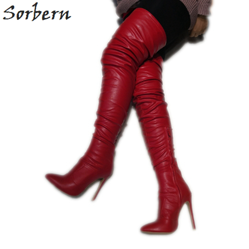 Sorbern Over Knee Length Boots For Women Red Pu Designer High Heels Womens Boots Botines De Mujer Luxury Boots Pointed ToeSorbern Over Knee Length Boots For Women Red Pu Designer High Heels Womens Boots Botines De Mujer Luxury Boots Pointed Toe