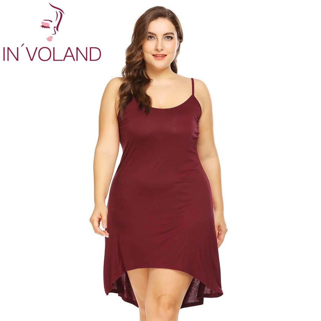 IN'VOLAND Women Sleepwear Dress Nightgowns Plus Size XL-5XL Adjustable Spaghetti Strap Cami Sleep Dresses Sleepshirts Oversized 2