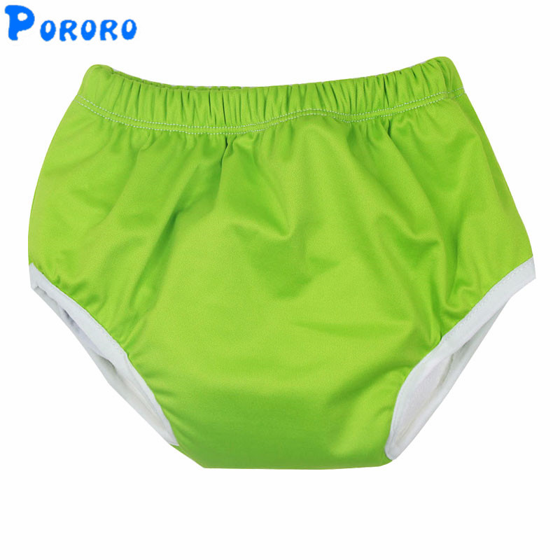 PUL Sollid Color Waterproof Baby Training Pants Baby Cloth Diapers Reusable Nappy Washable Diapers Cotton Learning Pants M L