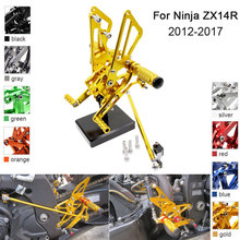 CNC Aluminum Adjustable Rearsets Foot Pegs For Kawasaki Ninja ZX14R ZX-14R ZZR1400 ABS 2012 2013 2014 2015 2016 2017 high quality cnc floating front brake disc rotors for kawasaki ninja zzr1400 zx14r zx 14r zx1400 zx 1400 1400cc 2006 2007