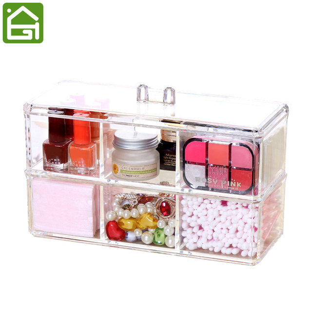 2 Piece Set Acrylic Cosmetic Organizer Jewelry Makeup Stackable