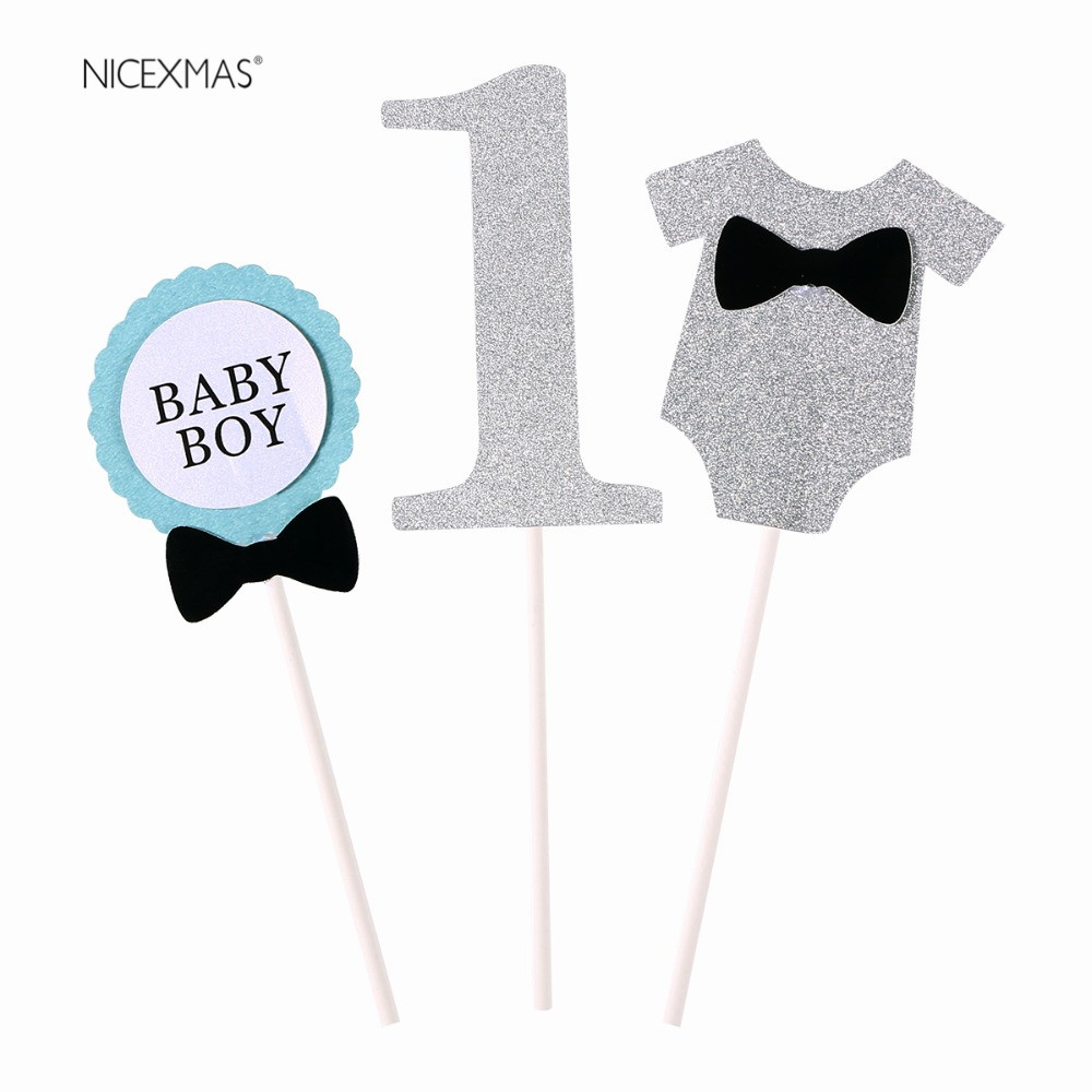 Cute BABY BOY 1st Birthday Clothing Design Celebrating Party Cake Topper Birthday Party Decoration Baby Shower Party Decoration