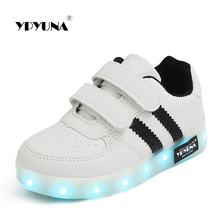Size 25-34// USB Charger Glowing Girls Sneakers Basket Led Children Lighting Shoes Boys illuminated krasovki Luminous Sneaker A8