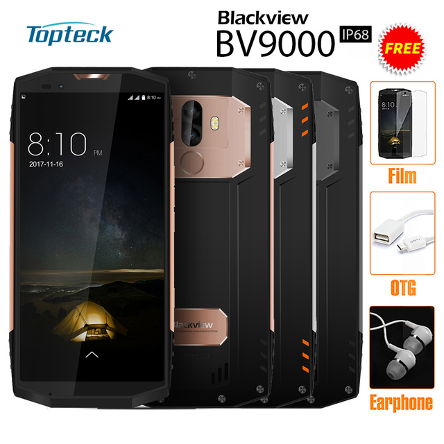 Blackview BV9000 4G Mobile Phone IP68 5.7'' 18:9 Screen 4GB RAM 64GB ROM 8 Core 13MP Dual Back Cameras NFC E-compass Smartphone