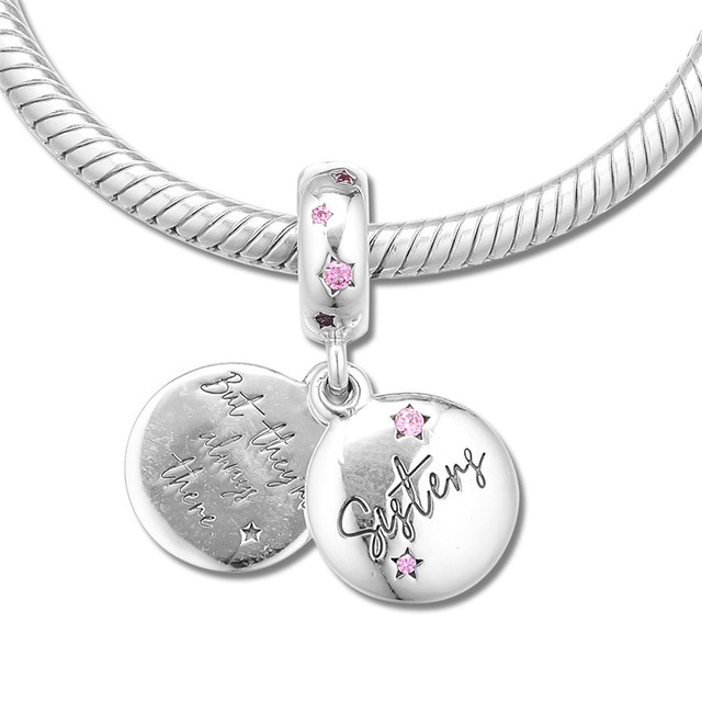 Forever Sisters Silver Charms for Women Bracelets Fine Silver 925 Jewelry Family Sister Love Sign Charms for Jewelry Making DIY
