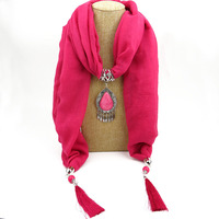Fashion Necklaces For Women 2017 Soft Shawl Tassel Wrap Silk Polyester Scarves Resin Bead Charm Long