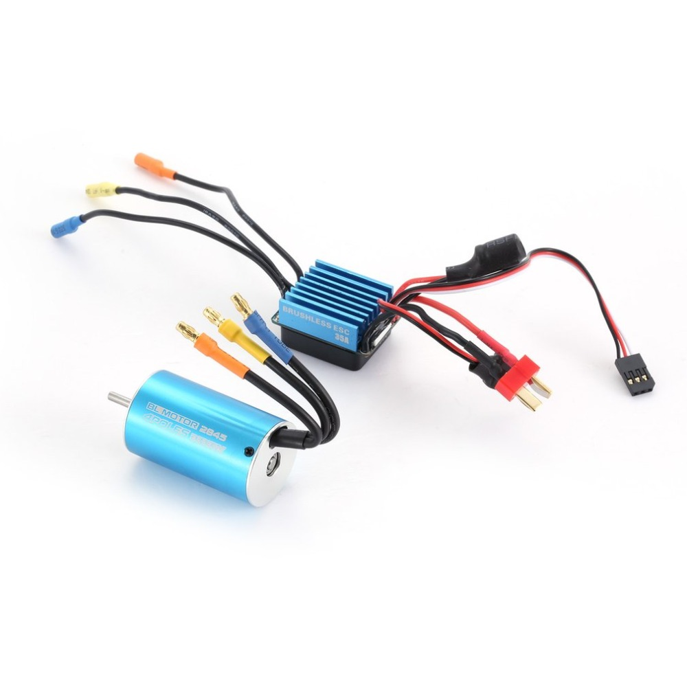 2845 3930KV Sensorless Car Brushless Motor + 35A Brushless ESC Electric Speed Controller Set for 1/14 1/16 1/18 RC Car Truck kit elecall 50 800c adjustable emissivity autooff lcd noncontact digital laser infrared thermometer ir high temperature gun tester page 9