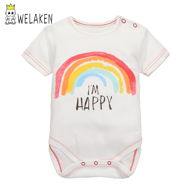6ce939fe95e welaken 2018 Baby Girls Romper Lovely Rainbow Pattern Kids Infant Clothes  Toddler Baby Jumpsuit Outfit Baby Boys C