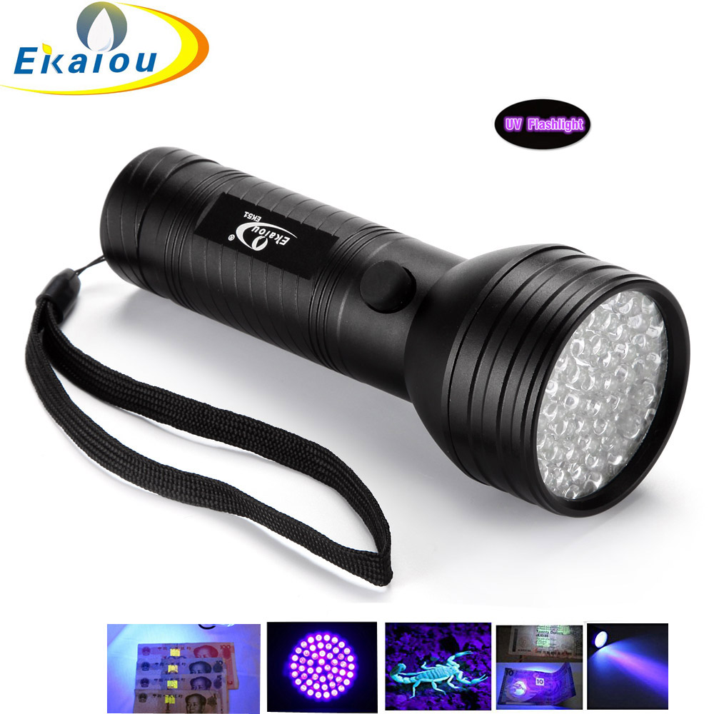 Free Mail 51 LED <font><b>395</b></font> <font><b>nm</b></font> <font><b>UV</b></font> Ultraviolet Black Flashlight 3AA mini Torch Lamp Pet Urine Stain Detector image