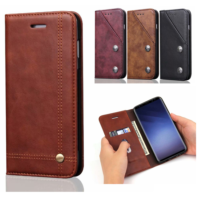 897c1b63aef4 Vintage Magnetic Flip Book Stand Wallet Case for Samsung Galaxy S8 Plus S9  S9Plus Luuxry PU Leather Phone TPU Soft Cover 30pcs