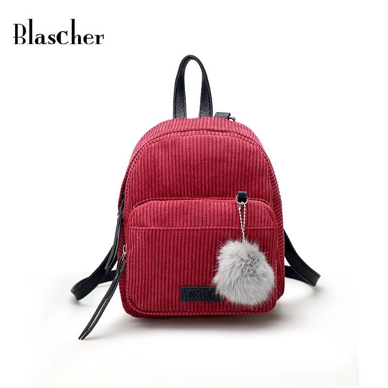 Blascher New Women Backpacks Retro Corduroy Minimalist Pure Color Women Teenager School Bags Simple Style Girls