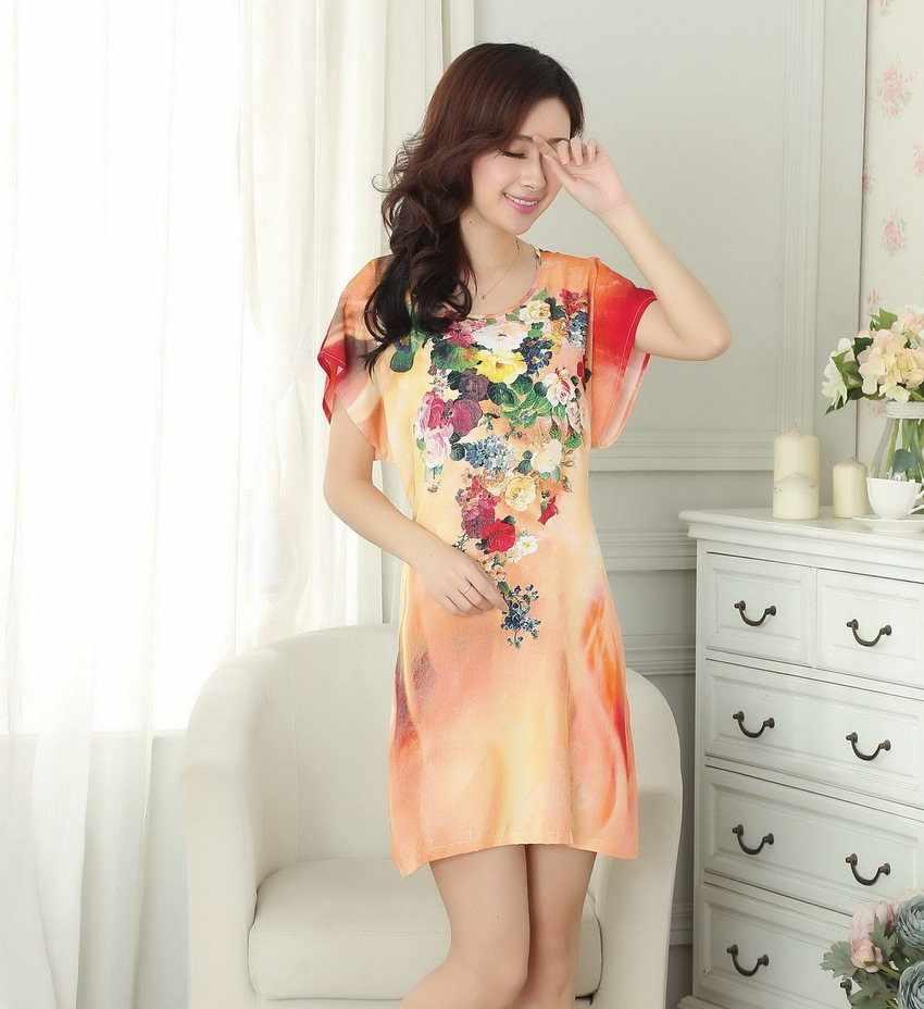 Şık kadın pamuk ev elbise yaz salonu elbise kıyafeti çiçek pijama kısa kollu gecelik bir boyut TB003