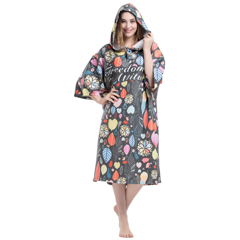 Leaves Printing Changing Robe Bath Towel Fashion Outdoor Adult Hooded Beach Towel Poncho Movemen Women Man