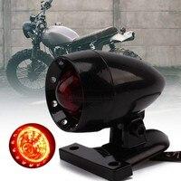 Retro Motorcycle Black Bullet Housing Rear Tail Stop Light Universal Fit For Harley Bobber Chopper Street