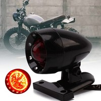 Retro Motorcycle Black Bullet Housing Rear Tail Stop Light Universal Fit For Harley Bobber Chopper Street