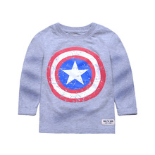 Children's Clothing Amer*Ca*tal European and American Style Full Sleeve T-shirts Fall Kids Boys Tops Handsome Cartoon Soft Tees
