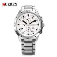 Curren Sport Quartz Watch Hours Date Display Men Clock Fashion Casual Stainless Steel Watches Male Wristwatch