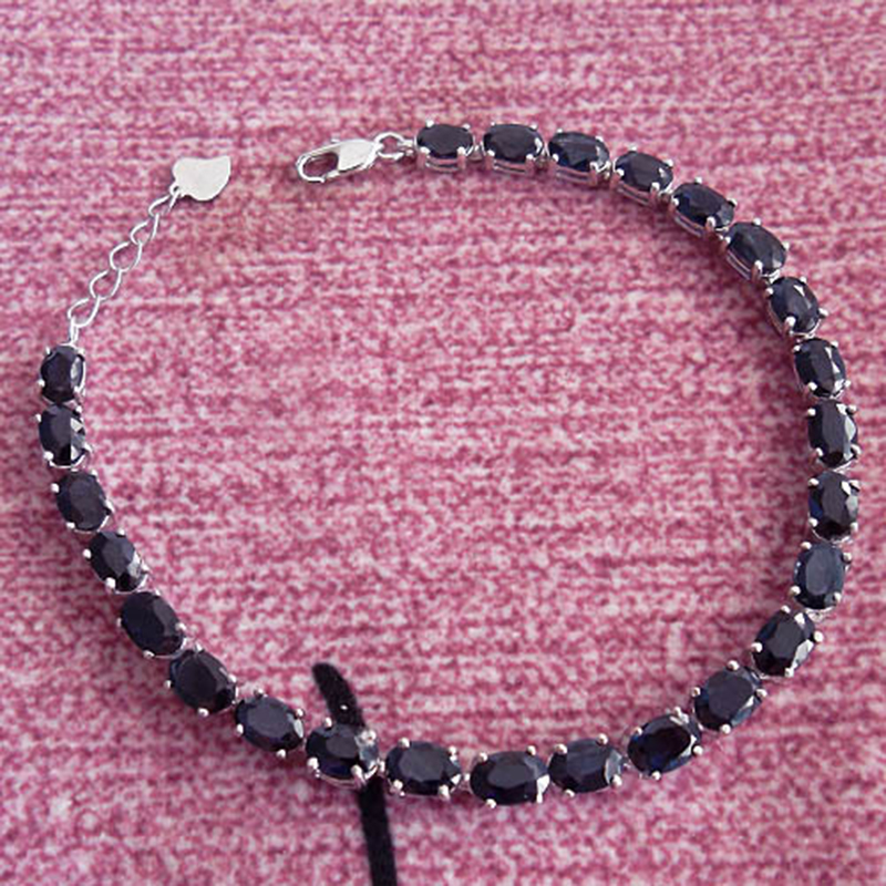 New arrive natural sapphire chain bracelets, black sapphire jewelry with 925 silver link bracelet for woman цена