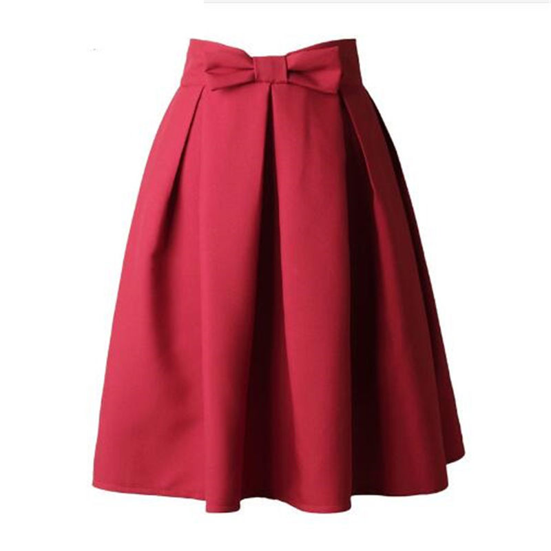 Causual Bow Pleated Women Skater Skirts Knee Length Summer High Waist Ladies Solid Ball Gown A-Line Skirt Valentine