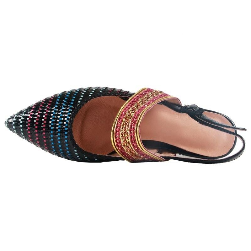 A 34 Del Asumer Formato Alta Punta Apricot Genuino 43 Di Qualità Cuoio Più Il Tessitura Donna black Sandali Nuovo Scarpe Piatti Femminile x44fg