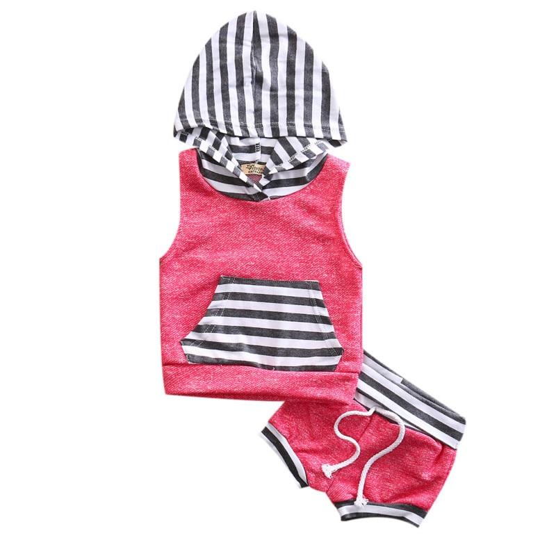 2pcs baby font b boys b font girls clothes summer baby clothing striped pocket hooded font