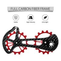 16T Bicycle Rear Derailleur Pulley Bike Ceramic Bearing Jockey Pulley Wheel Set Bicycle Carbon Fiber CNC Rear Derailleurs Guide