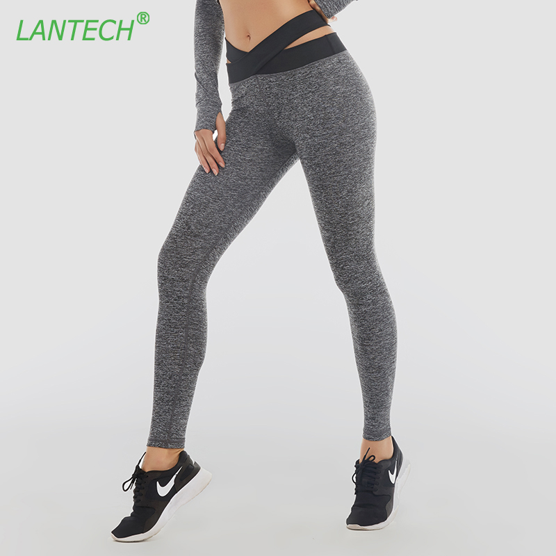 LANTECH Women Pants Sports Yoga Elastic Running Cross Belt Leggings Sportswear Fitness Exercise Gym Compression Pants Clothes