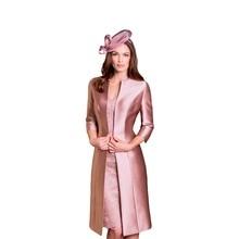 Sexy Mantel V-ausschnitt Spitze Mutter der Braut Kleider 2016 mit 3/4 Hülse Mantel Jacke Knielangen Formale Partei-abschlussball-kleider JM10