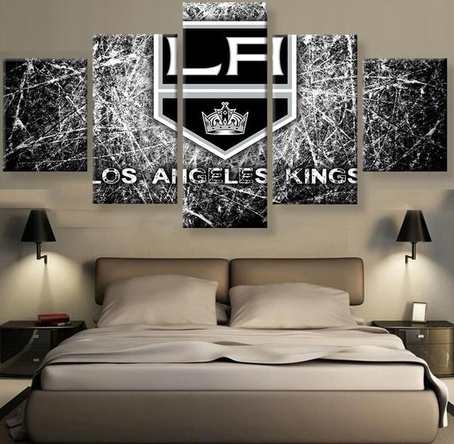 L.A. Kings Canvas Painting Wall Art Prints Home Decor Famous Teamwork  Picture 5 Panels For Linving