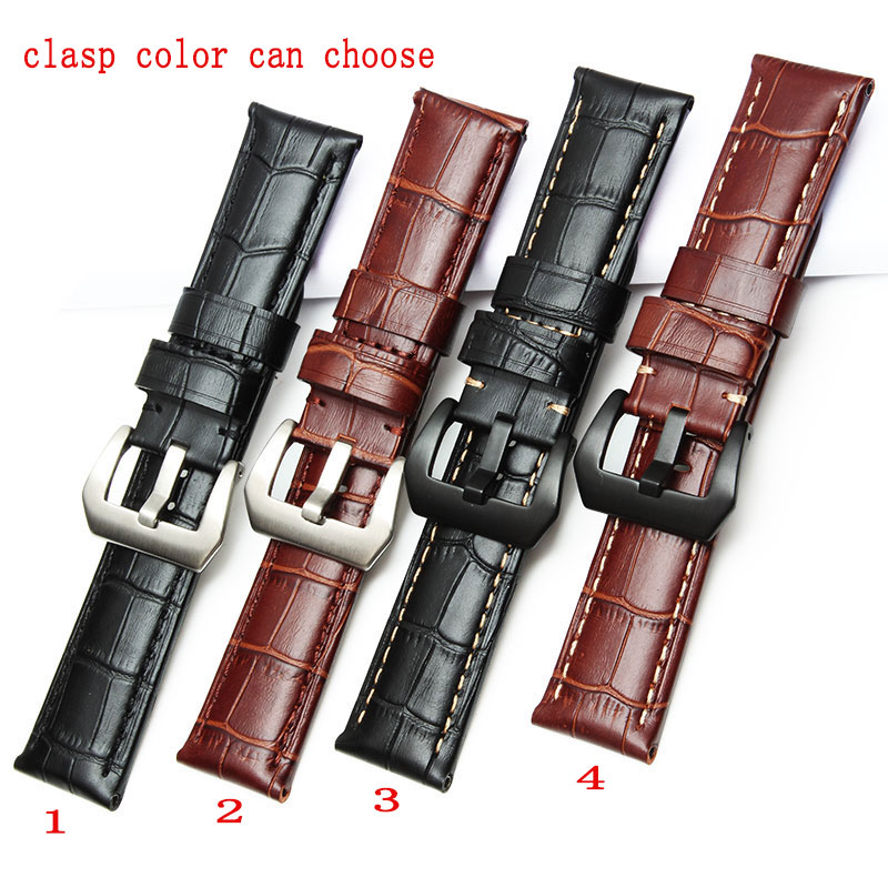 Crocodile grain 22mm 24mm 26mm Calf Skin Genuine Leather Watch Band With Watch  Buckle For Panerai Watch Strap Free Shipping upscale genuine leather bracelet watchband carbon fiber grain 20mm 22mm24mm 26mm watch band strap accessories buckle for panerai