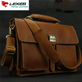 Vintage Leather Handbags Man LEXEB Brand Business Bag Men Laptop 15.6 Crazy Horse Briefcase Men's Shoulder Bags With Handle