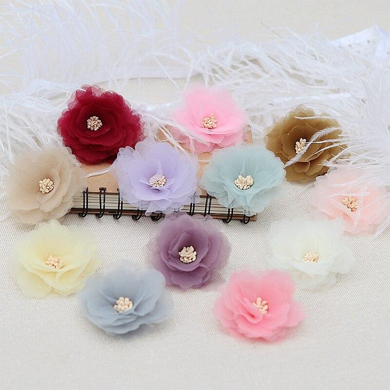 NEW 4PCS/Lot Lace Trim Patch Applique Fabric Wedding Dress DIY Flowers Bride Hair Veil Clothes Headwear Decoration 11 Color