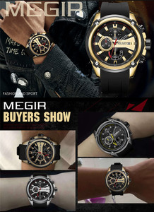 Image 5 - レロジオ masculino MEGIR メンズ腕時計トップブランドの高級クロノグラフ防水スポーツ男性時計ゴム腕時計 2086