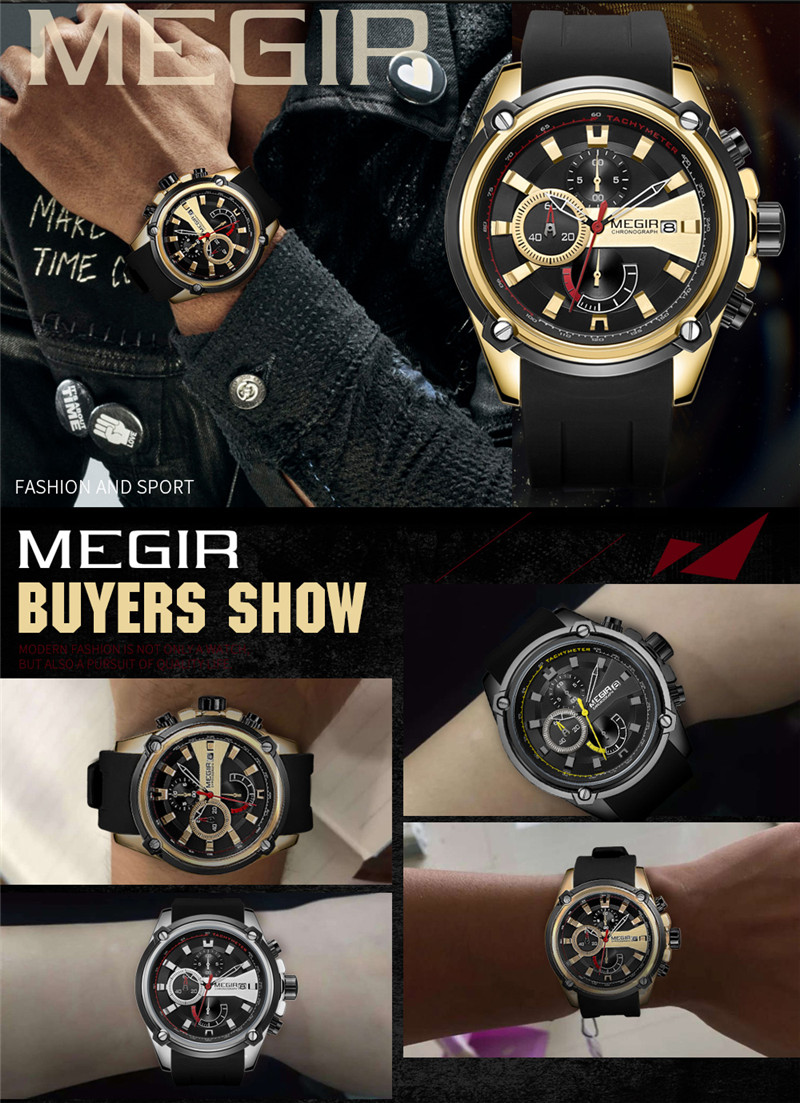 Image 5 - relogio masculino MEGIR Men Watch Top Brand Luxury Chronograph Waterproof Sport Male Clock Rubber Military Army Wristwatch 2086Quartz Watches   -