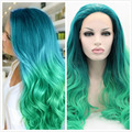 new fashion green ombre lace wigs for black women synthetic lace front wig heat resistant body wave free shipping