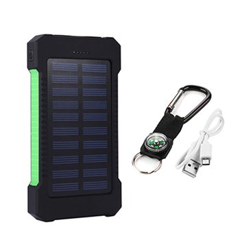 High Capacity 20000mAh Solar Power Bank Poverbank External Battery Charger Dual Ports Mobile Phone Charger for Xiaomi iPhone