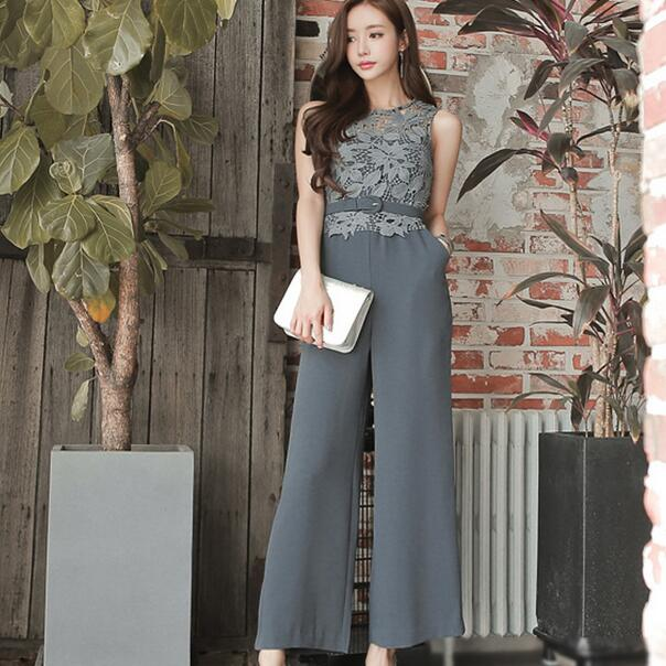 a5686803bf42 Detail Feedback Questions about Summer jumpsuit sexy sleeveless belt lace  women suit gray high waist one piece long pants wide leg jumpsuit for work  AH720 ...