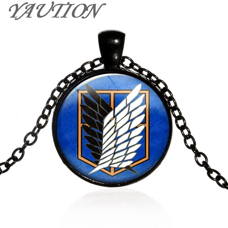 3 Colors Fashion Steampunk JaPan Anime Attack On Titan Pendant Women Men Necklace Glass Handmade Jewelry