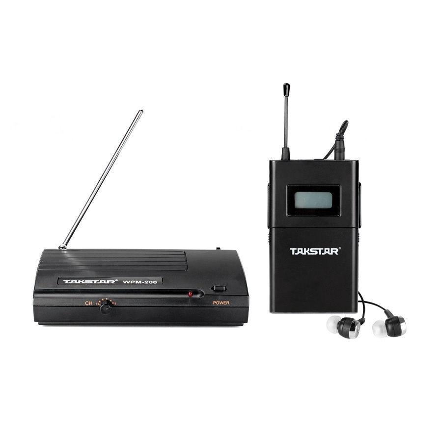 Atacado-Novo TAKSTAR ppm-200 In Ear Profissional Stage System Monitor Wireless receiver transmissor fone de ouvido