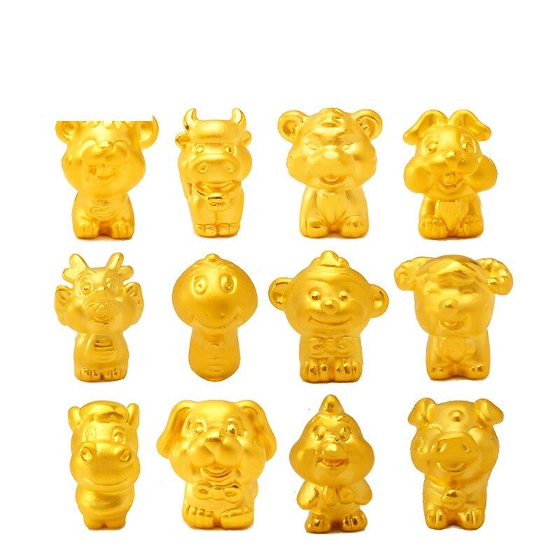 Pur 24 K or jaune zodiaque bracelet mignon 3D designer animal armure chaîne bracelet 1 pièces seulement pendentif 1-1.3g offre spéciale