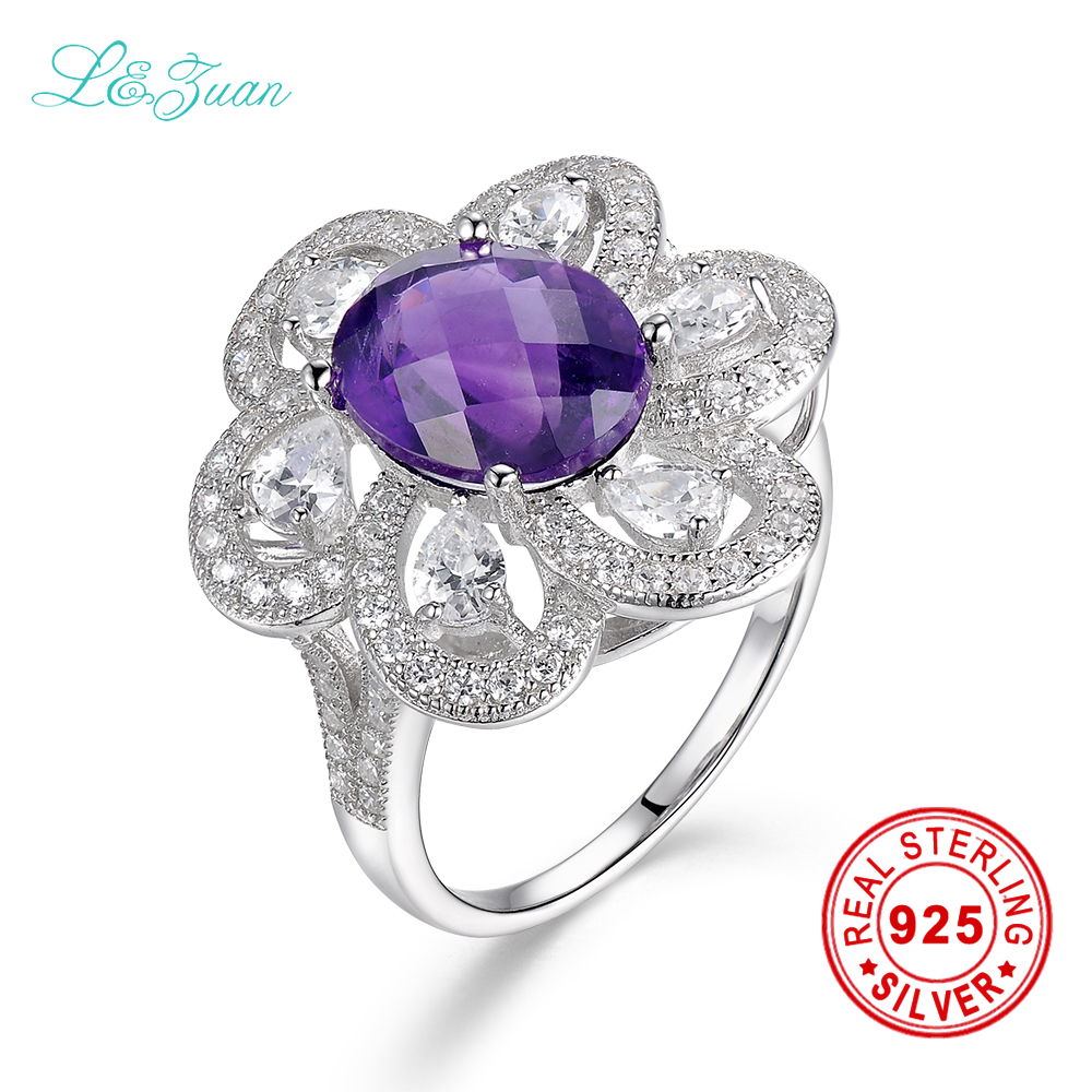 l&zuan Natural Amethyst Prong Setting Purple Romantic Ring sterling silver jewelry ring Weight 6.2g