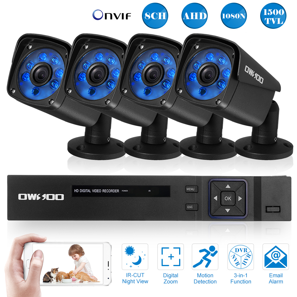 8*720P IR CCTV Security Outdoor Camera System Kit OWSOO 1080N 8CH 1500TVL DVR